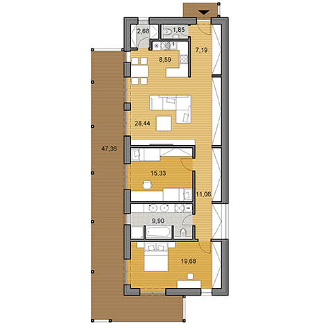 House plan of I shaped bungalow 104 m2
