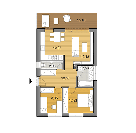 House plan of bungalow - 66 m2
