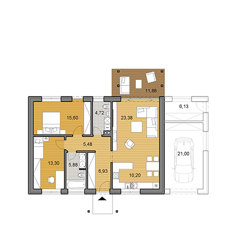 House plan of bungalow - 85 m2