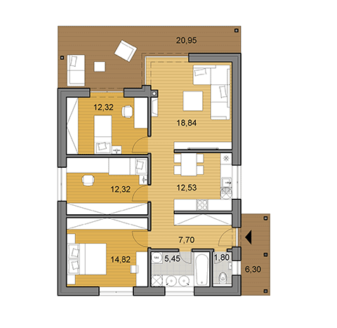 House plan of bungalow I86