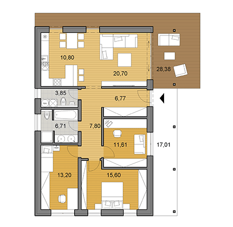 House plan of bungalow - 96 m2