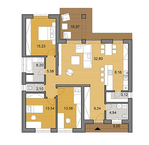 House plan of bungalow - 116 m2