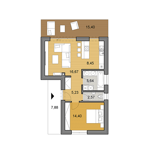 Small L-shaped bungalow L50