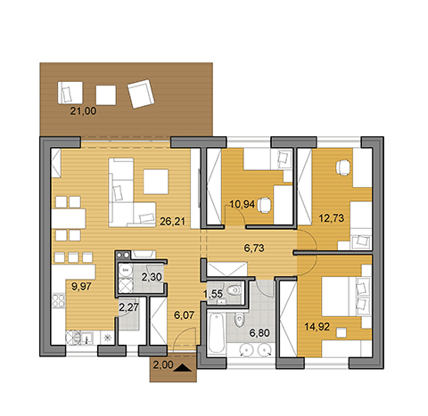 House plan of bungalow - 100 m2