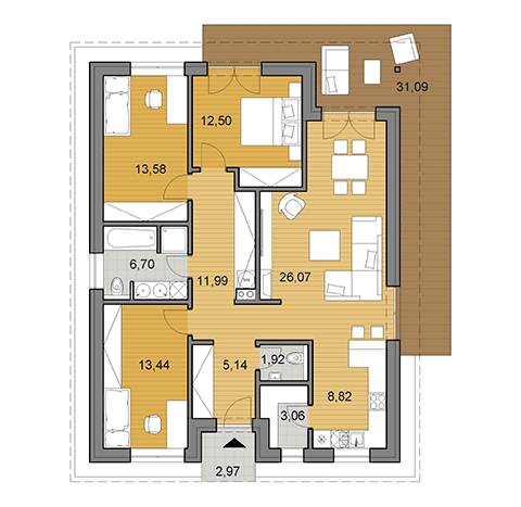 House plan of bungalow - 105 m2