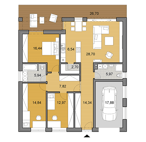 House plan of bungalow O135