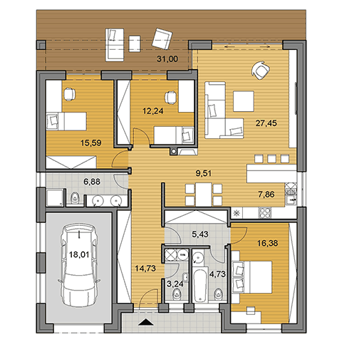 House plan of bungalow O140