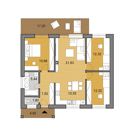House plan of bungalow O87