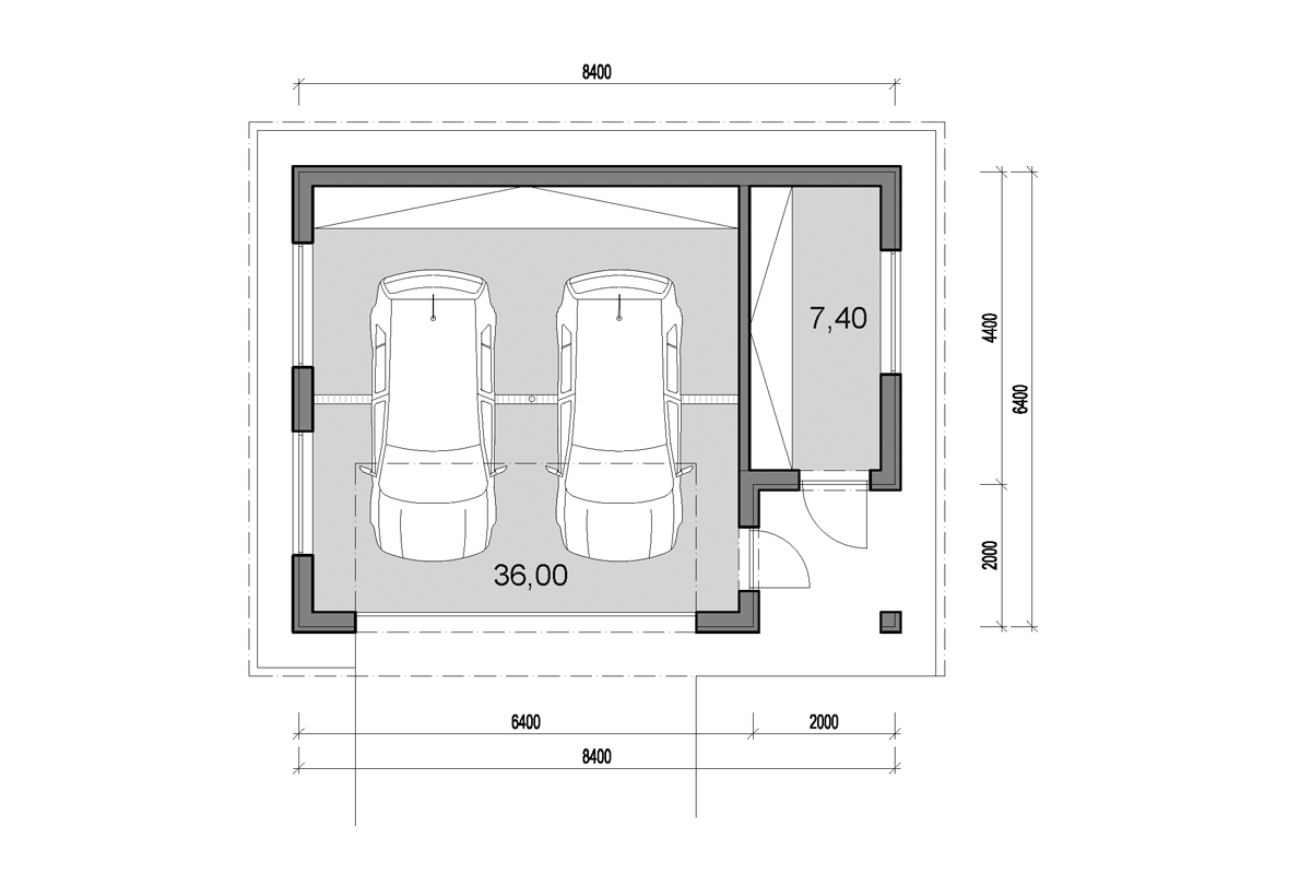 Double garage with side storage - floor plan
