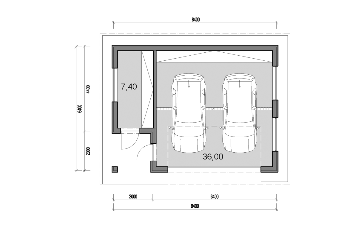 Double garage with side storage - floor plan - Mirrored