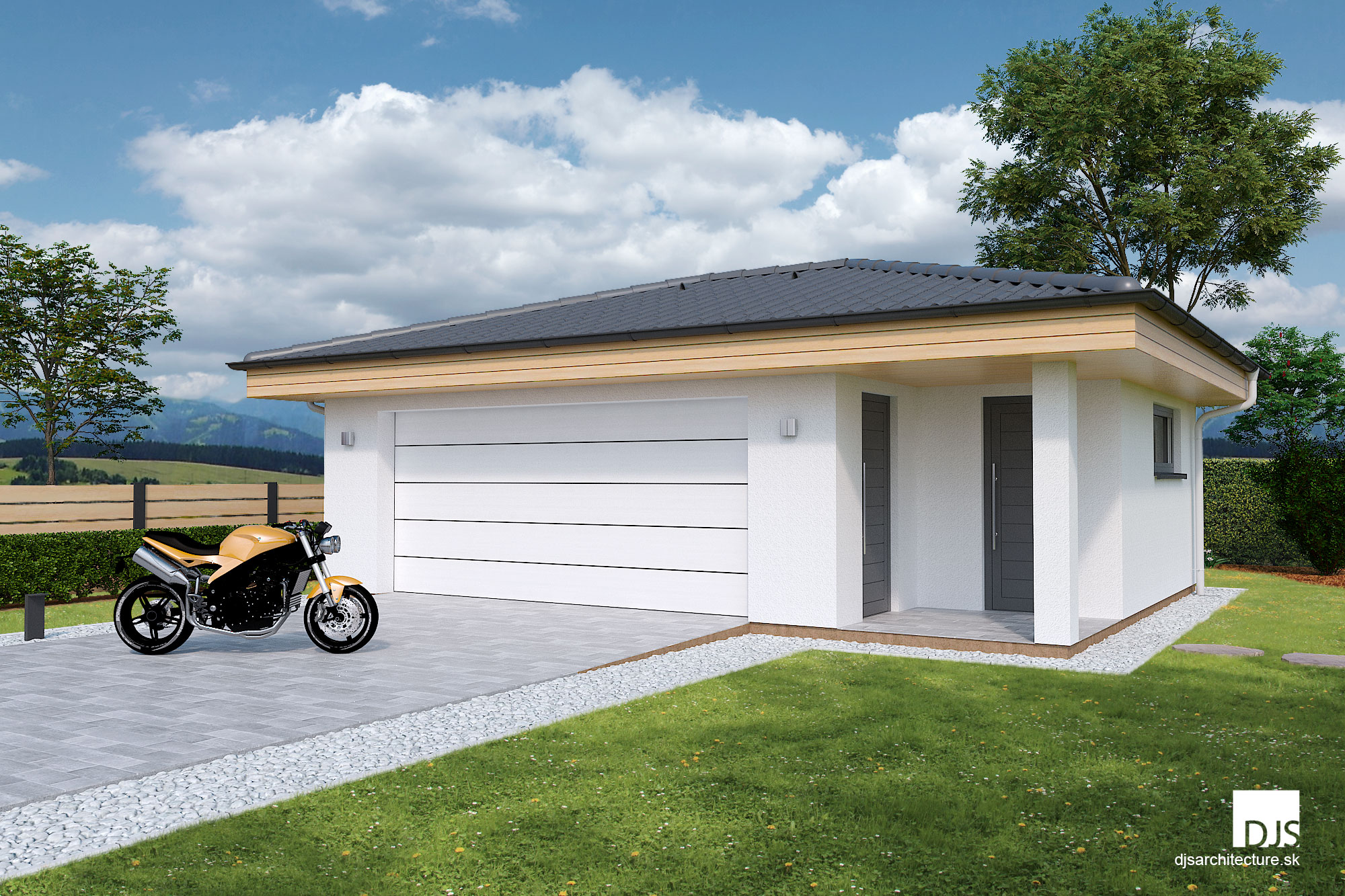 Double garage with side storage - Plans