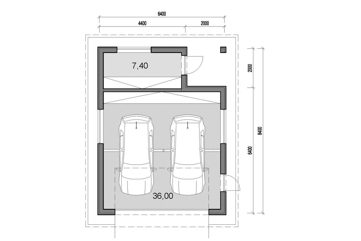 Double garage with back storage - floor plan