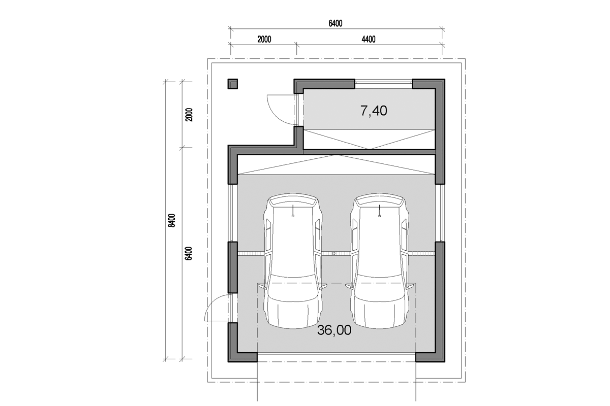 Double garage with back storage - floor plan - Mirrored