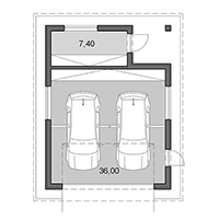 Double garage with back storage - Floor plan in pdf