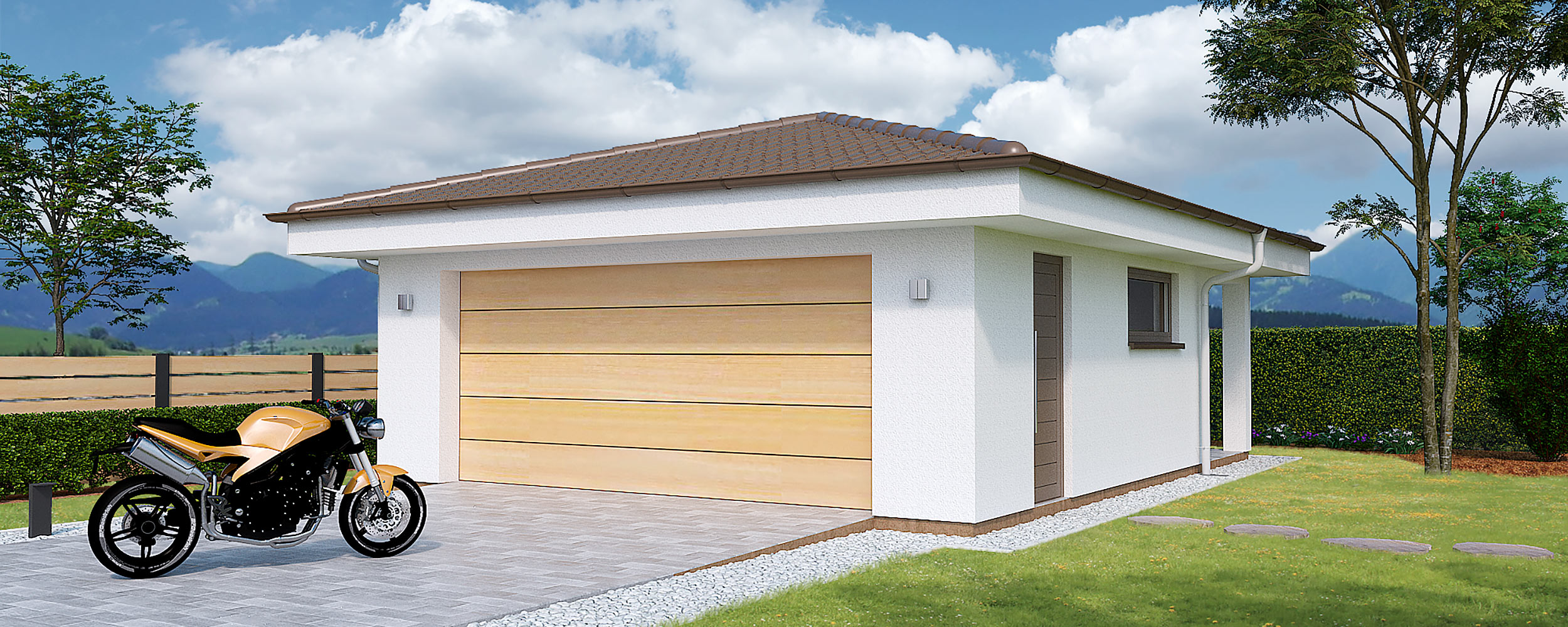 Double garage with back storage