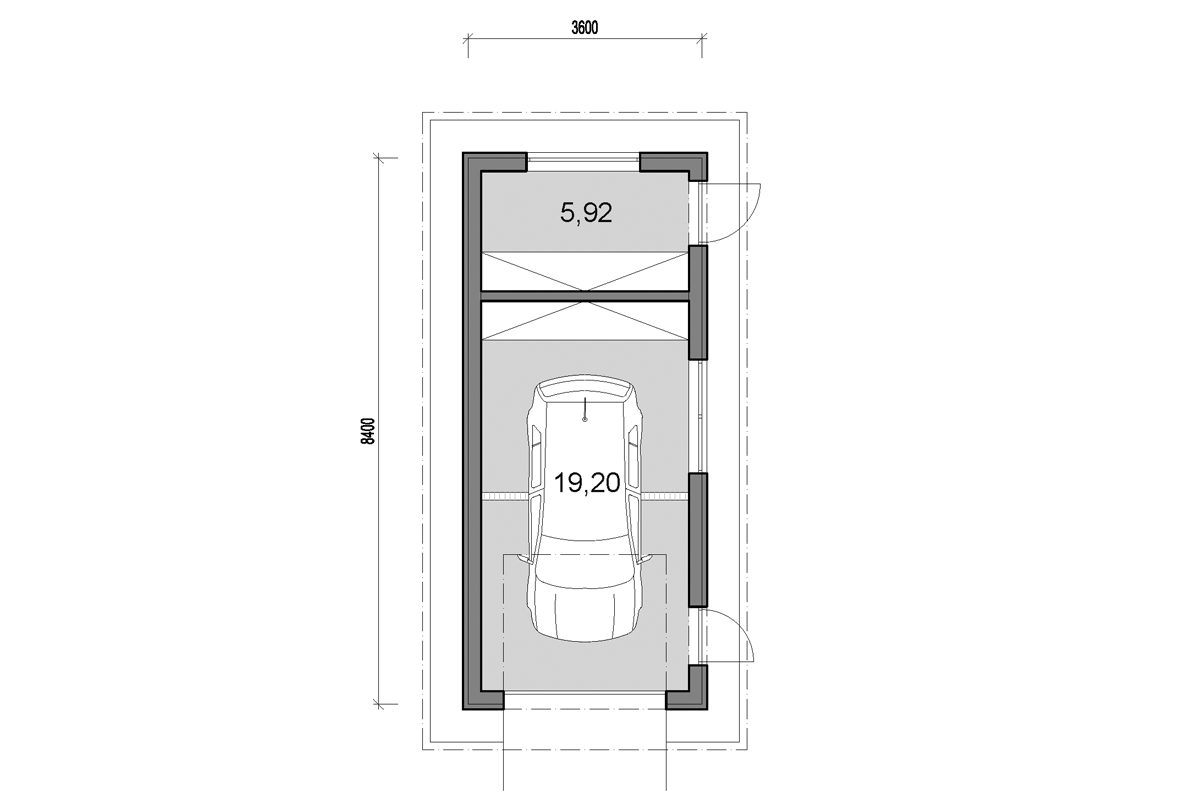 Single garage with storage - floor plan