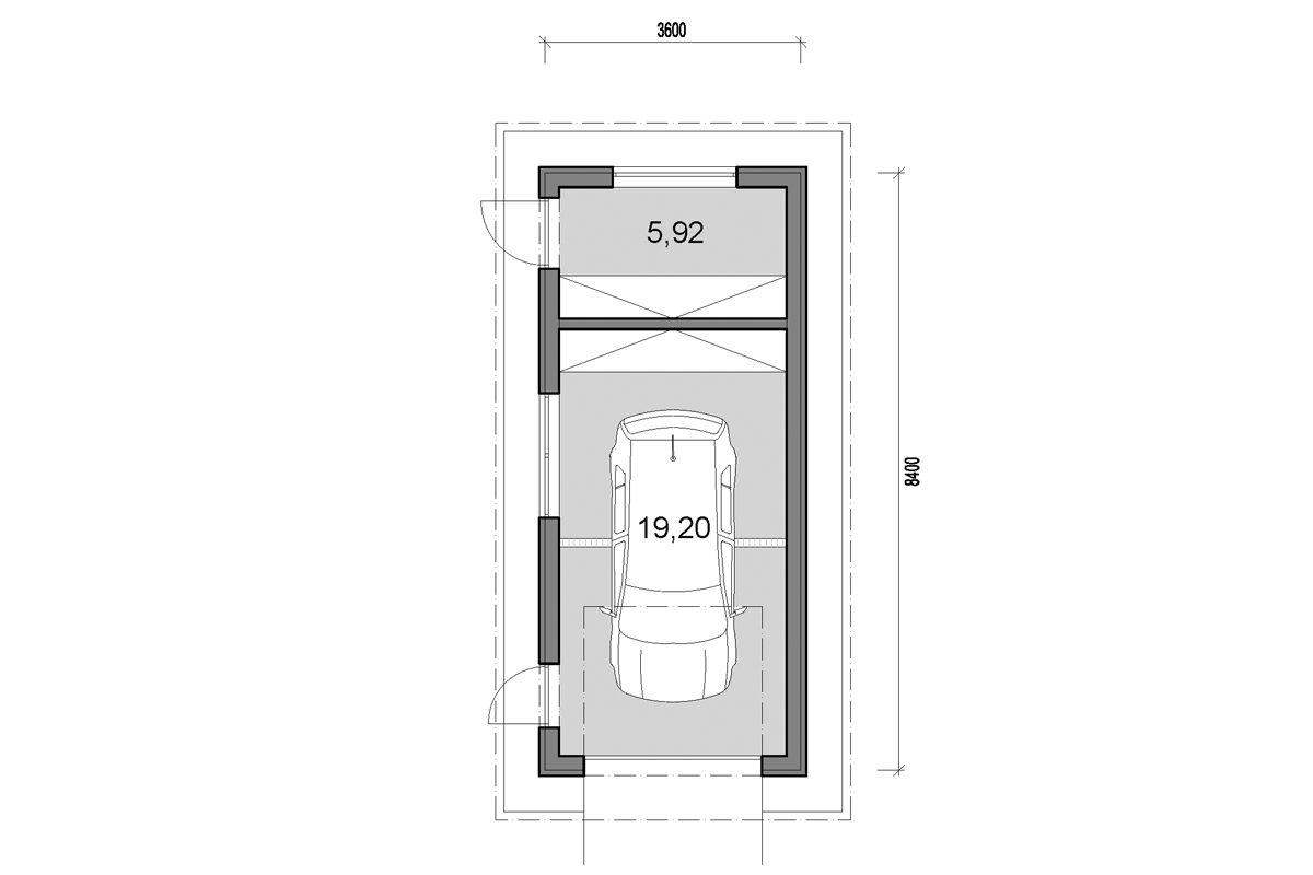 Single garage with storage - floor plan - Mirrored