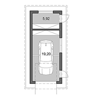 Single garage with storage - Floor plan in pdf