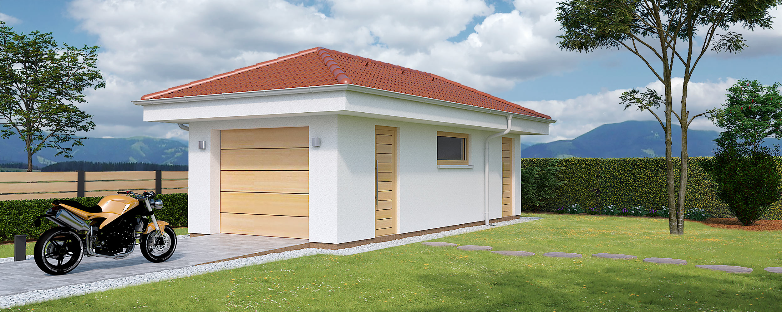 Single garage with storage