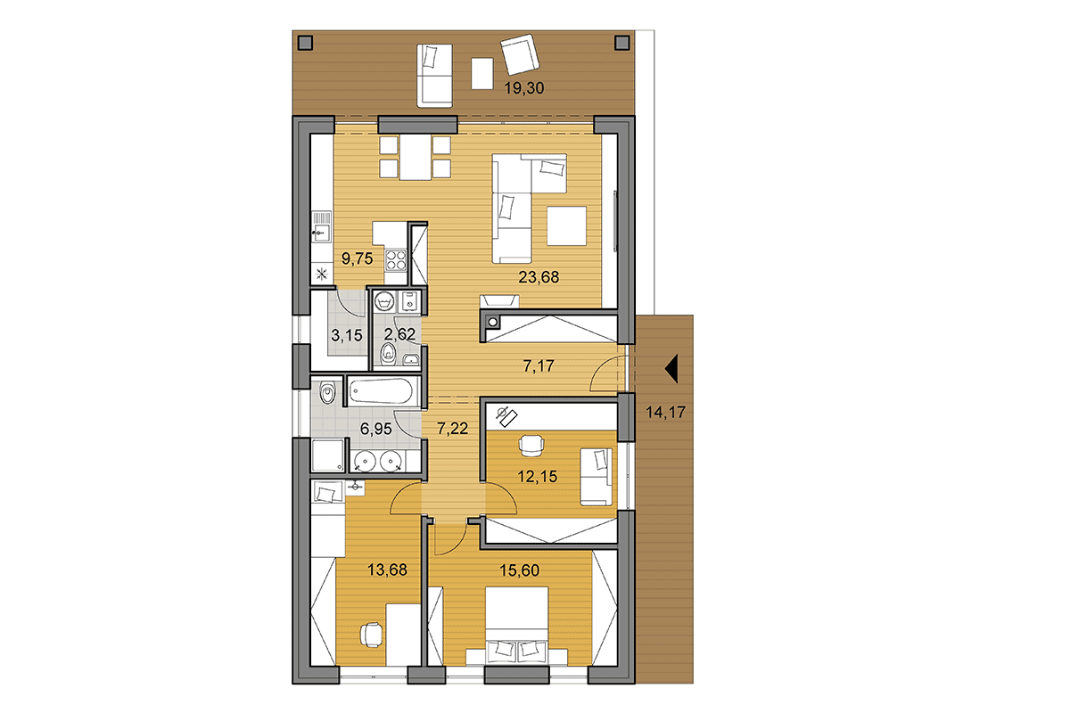 Bungalow i102 - Floor plan