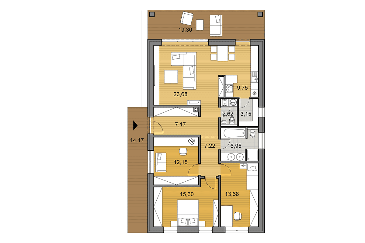 Bungalow i102 - Floor plan - Mirrored
