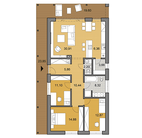 House plan of bungalow - 106 m2