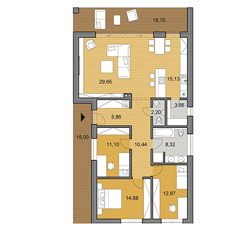 House plan of bungalow I115