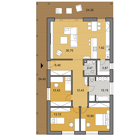 House plan of bungalow I120