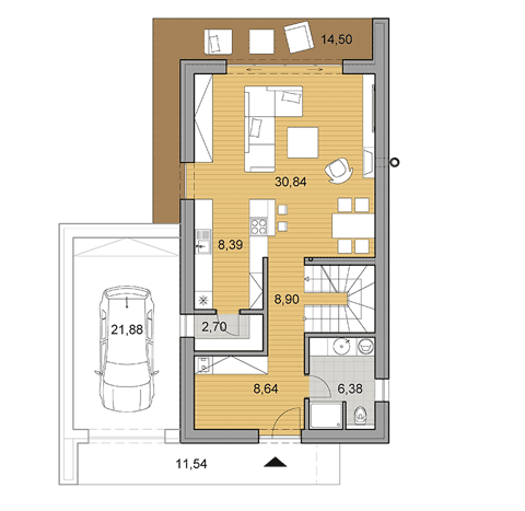 House plan of I shaped double storey house of 125 m2