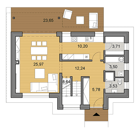 House plan of double storey family house I2-124