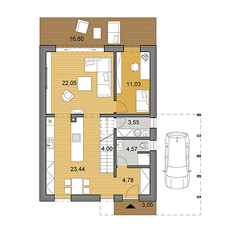 House plan of family house offering 141 m2