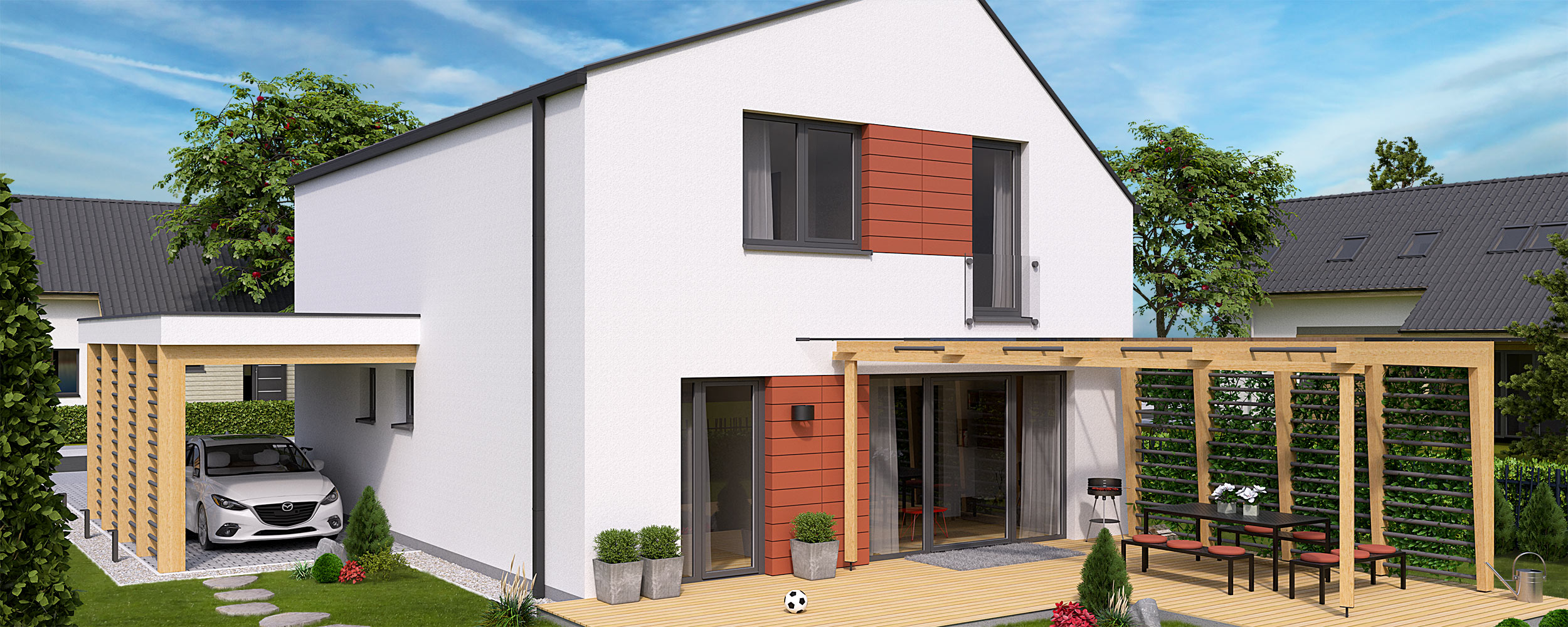 House plan i2-140 - View from garden