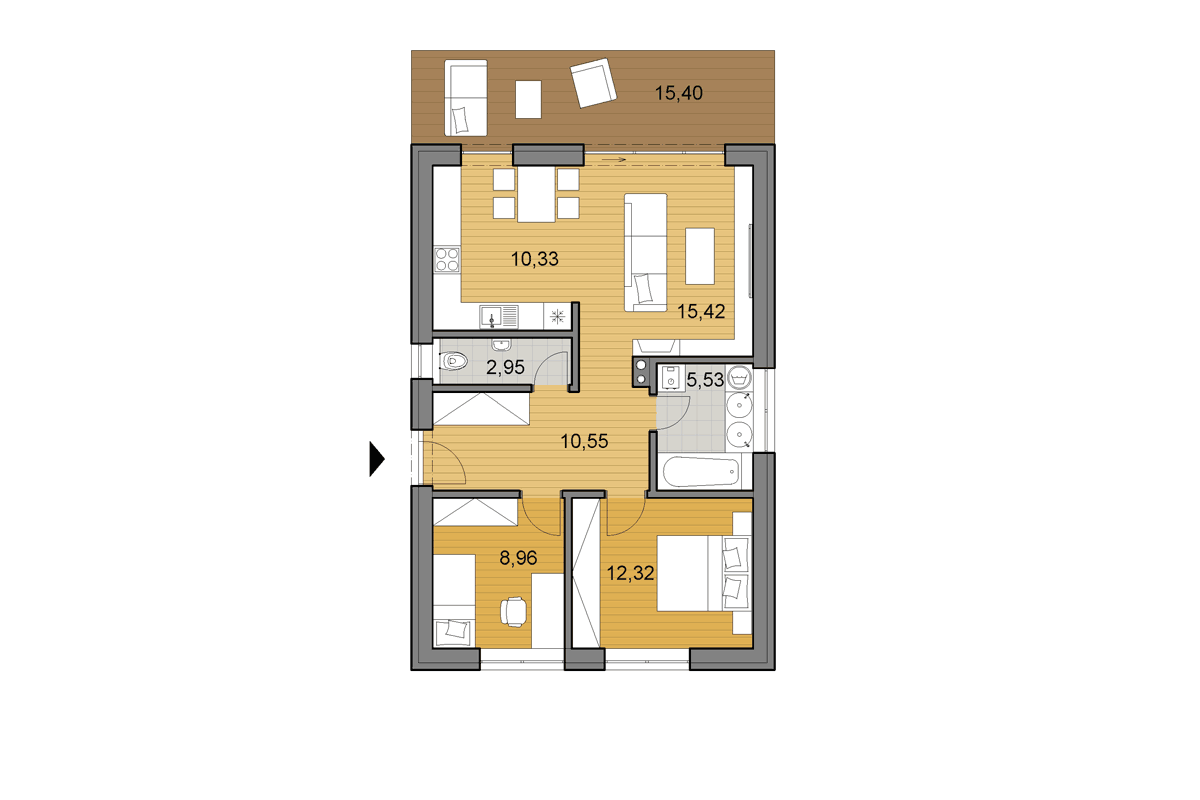 Bungalow i65 - Floor plan