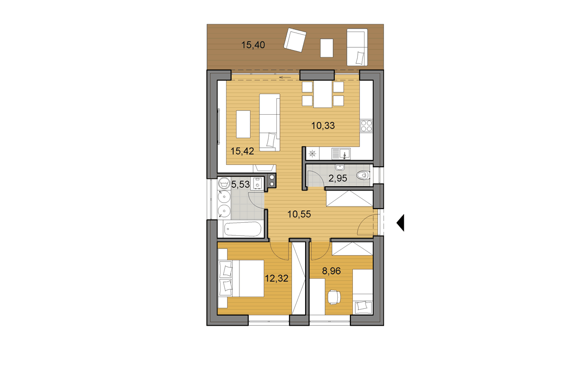 Bungalowi65 - Floor plan - Mirrored