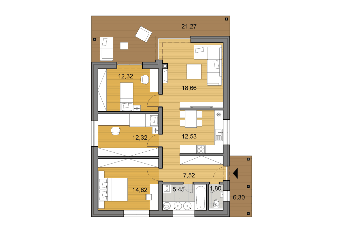 Bungalow i86 - Floor plan
