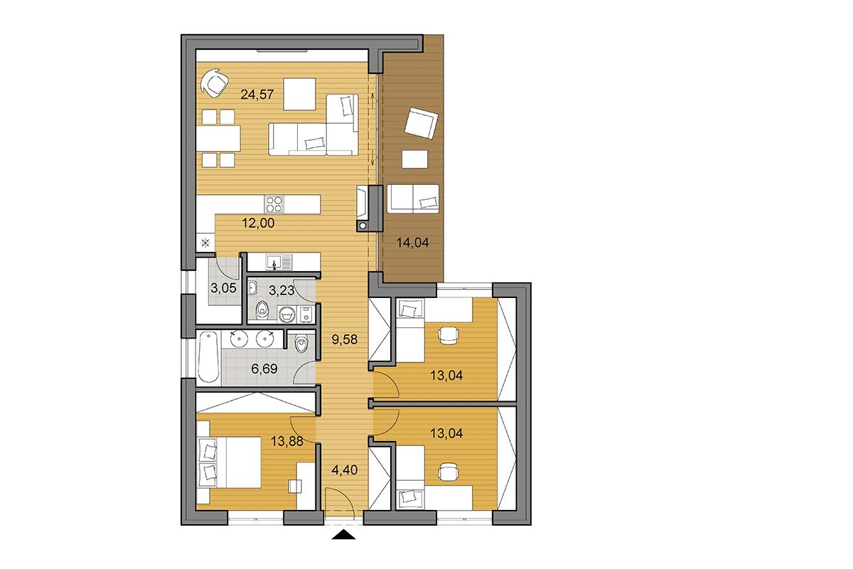 Projekt Domu V Tvare L Bungalov L105 Djs Architecture