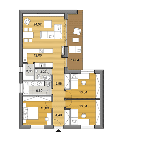 House plan of bungalow - 104 m2