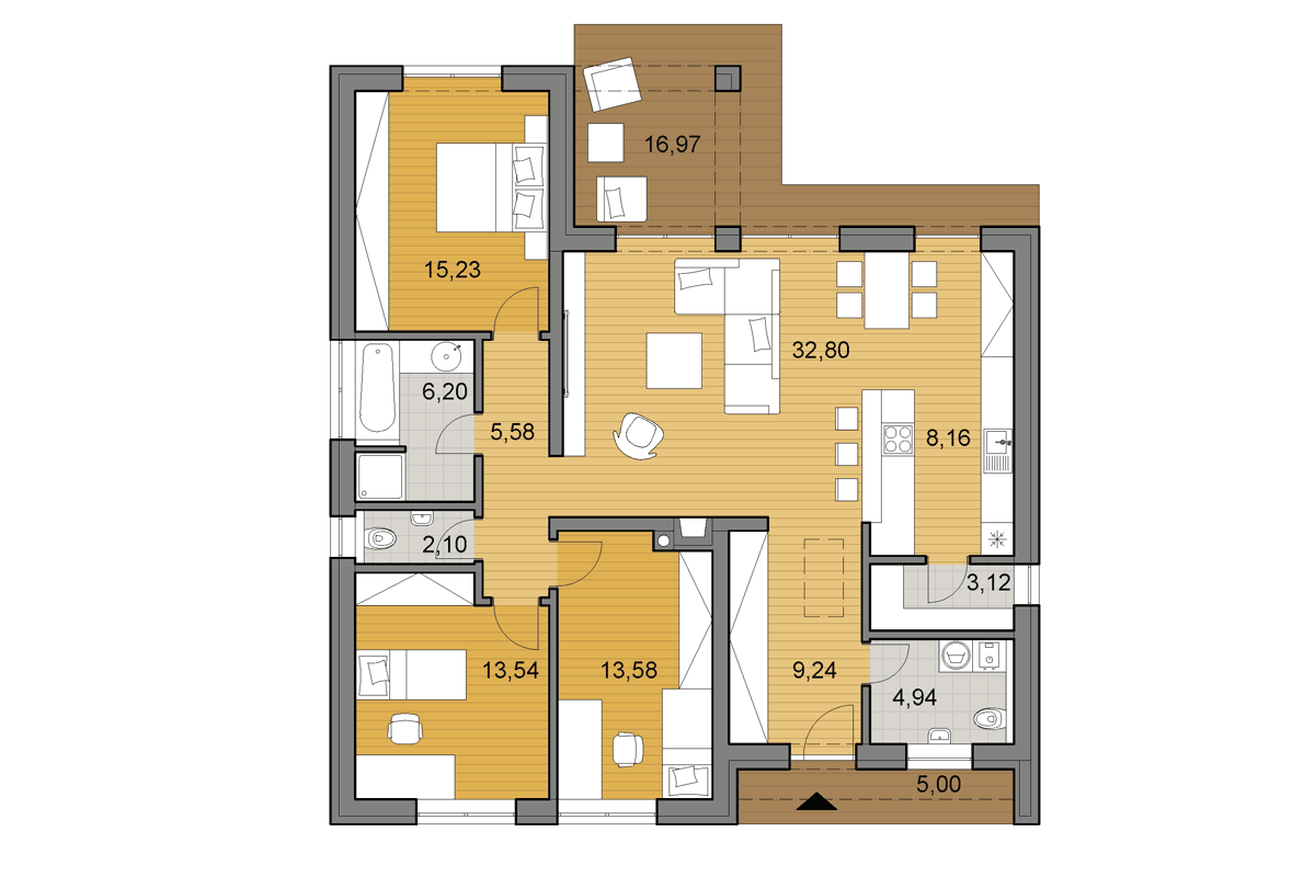Bungalow L110 - Floor plan