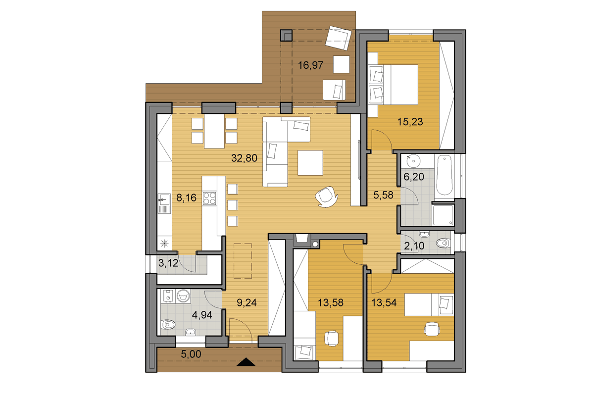 Bungalow L110 - Floor plan - Mirrored