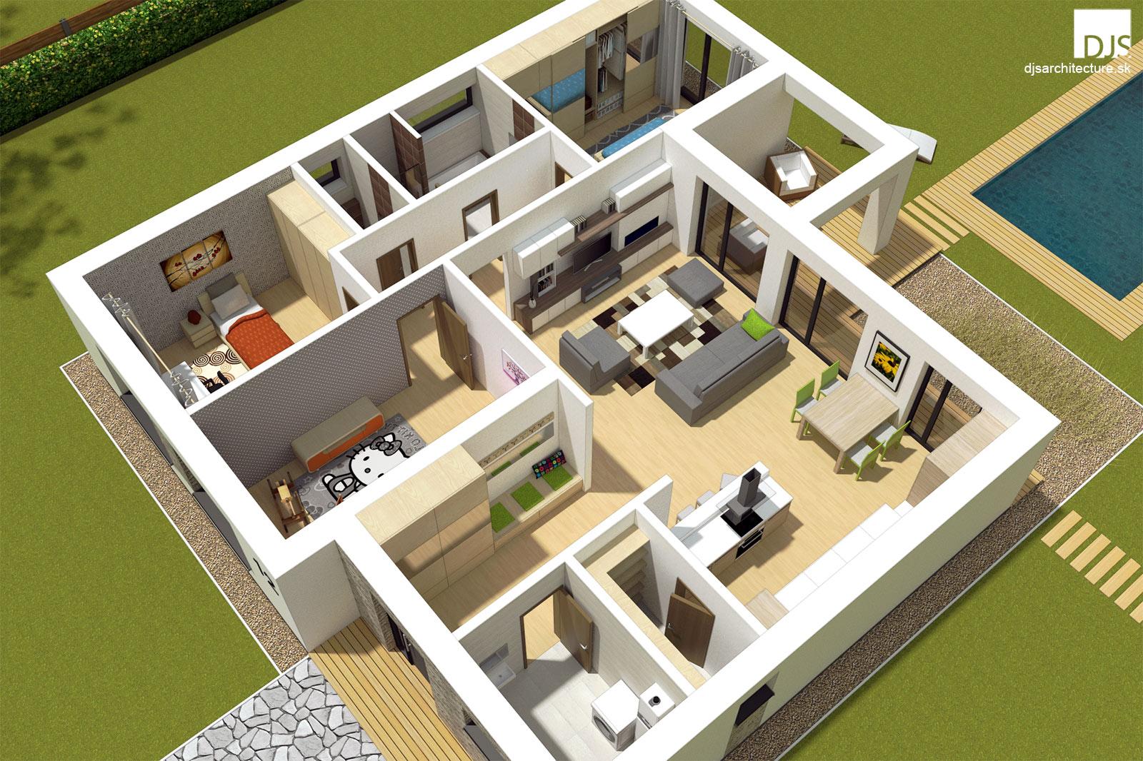 Projekt Domu V Tvare L Bungalov L110 Djs Architecture