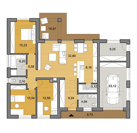 House plan of bungalow L110G