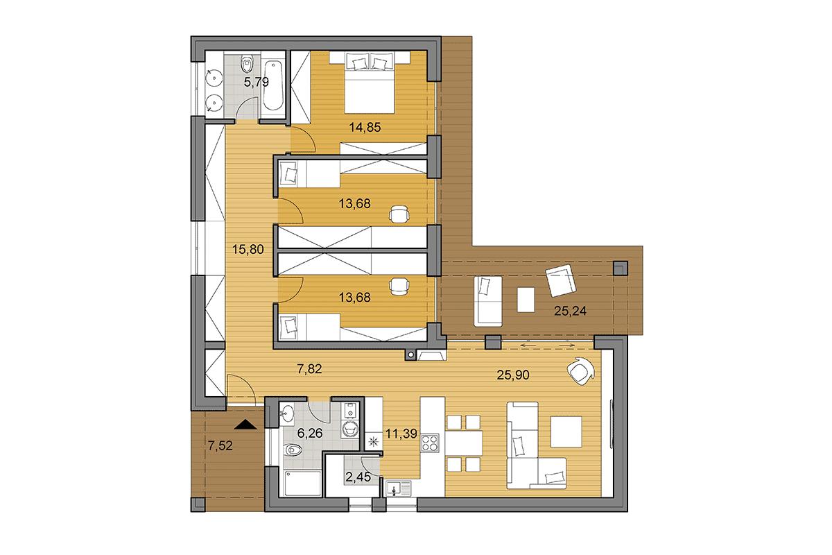 Projekt Rodinného Domu V Tvare L Bungalov L115 Djs Architecture