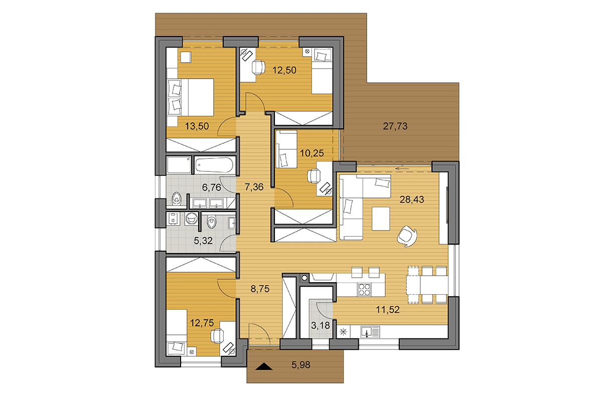 Bungalow L120 - Floor plan