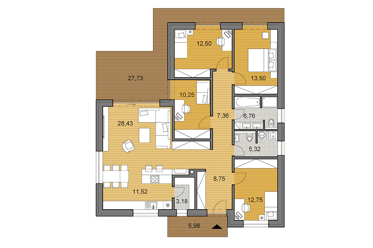 Bungalow L120 - Floor plan - Mirrored