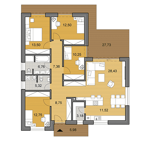 House plan of bungalow L120 - floor plan