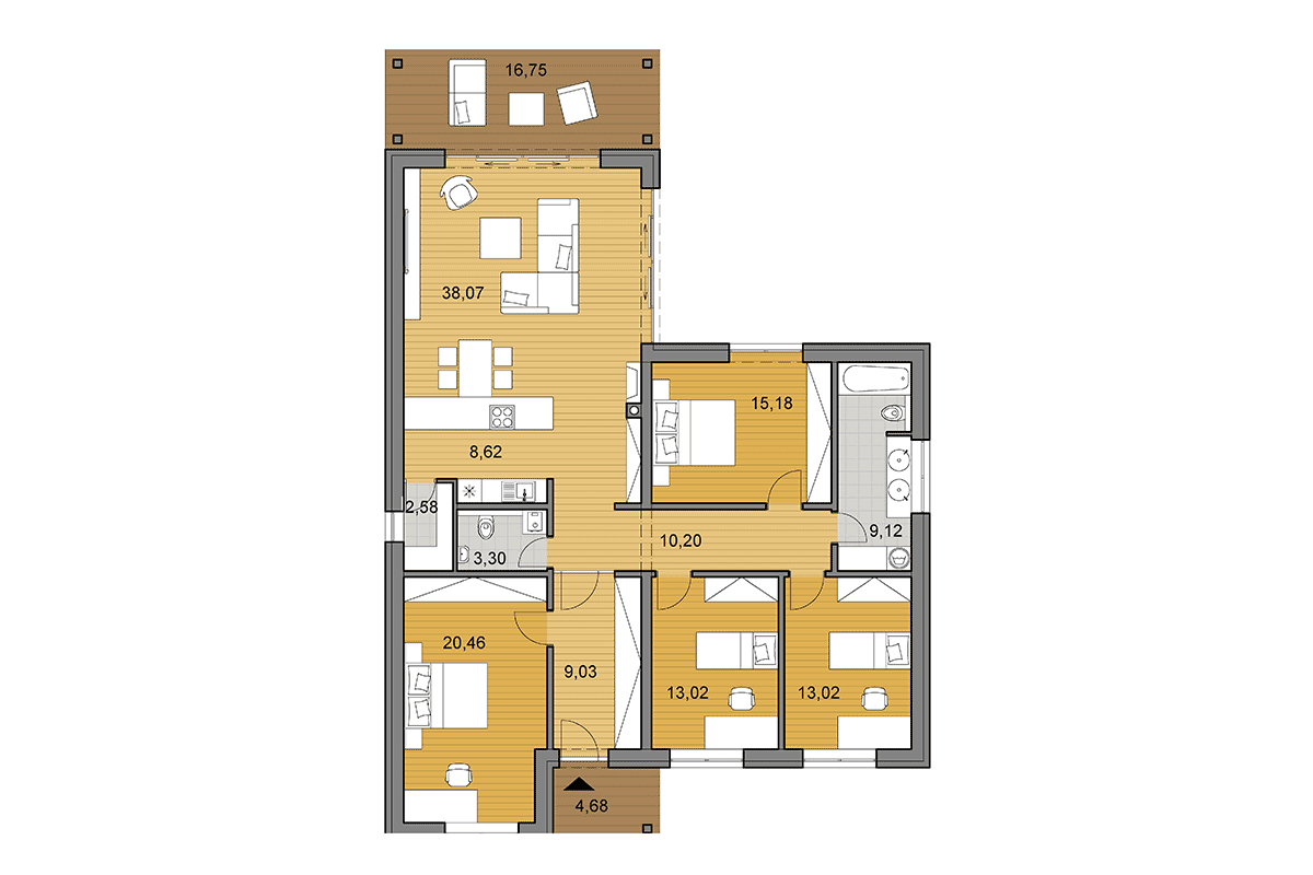 House plan L135 - Floor plan option with 4 bedrooms