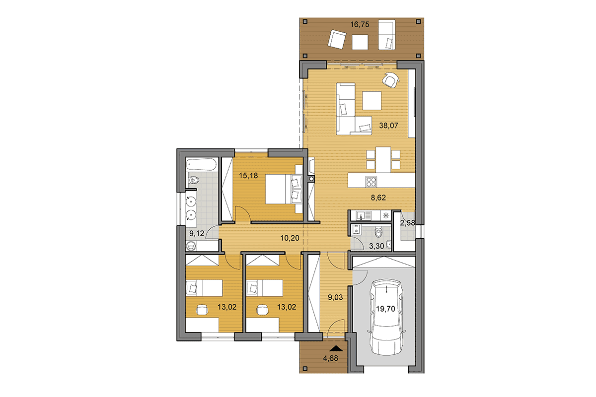 House plan L135 - Floor plan - Mirrored