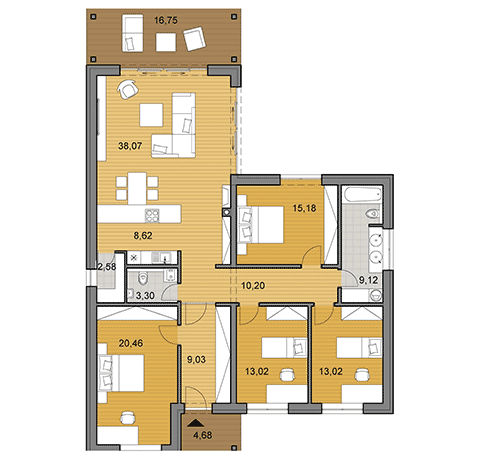 House plan of bungalow - 132 m2