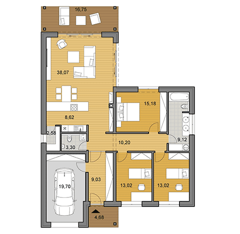 House plan of bungalow L135