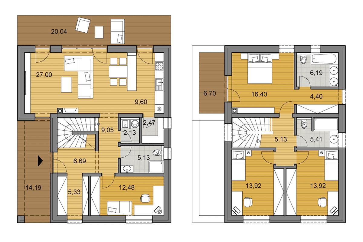 Family house L2-145 - Floor plan - Mirrored